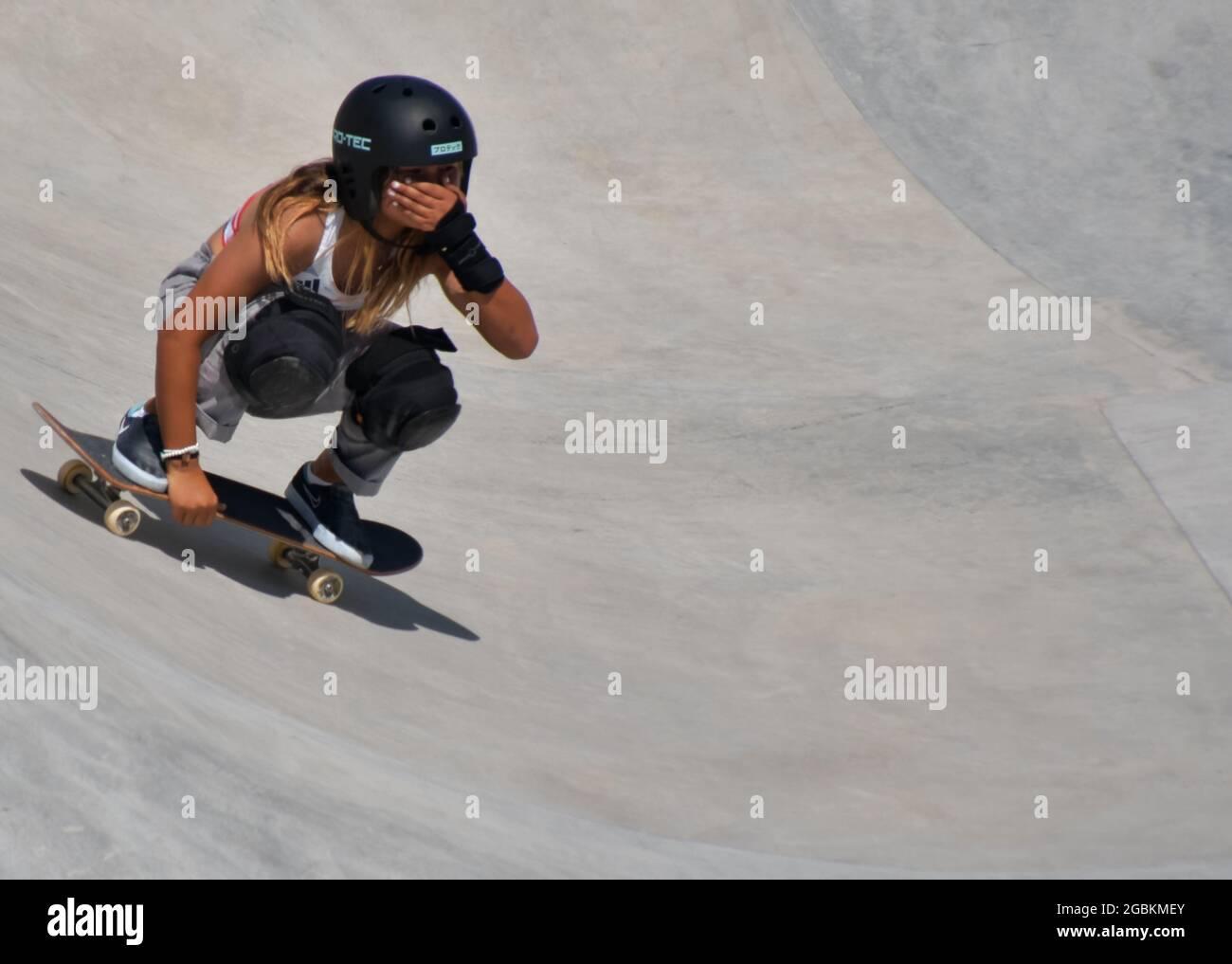 Tokyo, Giappone. 04 agosto 2021. Il Great Britain's Sky Brown festeggia dopo essere stato in finale durante le Olimpiadi di Tokyo Women's Park Skateboarding presso l'Ariake Urban Sports Park di Tokyo, Giappone, mercoledì 4 agosto 2021. Foto di Keizo Mori/UPI Credit: UPI/Alamy Live News Foto Stock