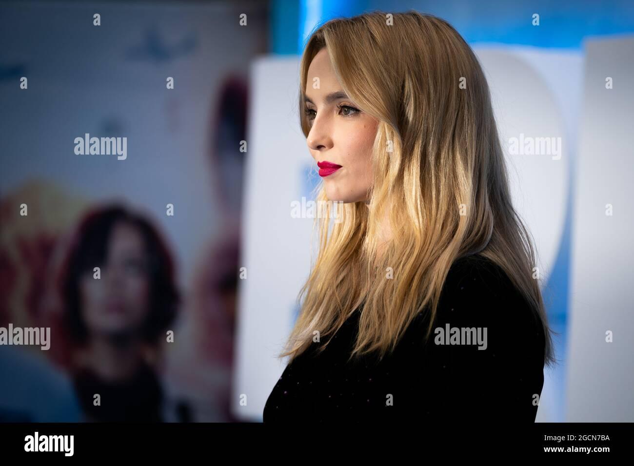 Jodie Comer arriva a Cineworld Leicester Square, nel centro di Londra, per la prima volta di Free Guy. Data immagine: Lunedì 9 agosto 2021. Foto Stock