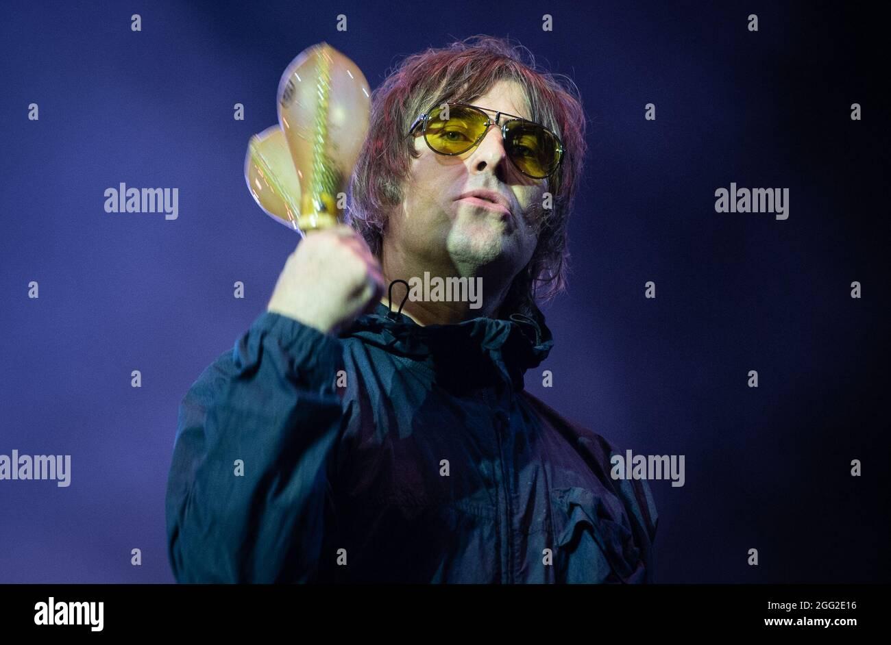 Leeds, Regno Unito, 27 agosto 2021. Foto Liam Gallagher al Leeds Festival. Credit Katja Ogrin/Alamy Foto Stock
