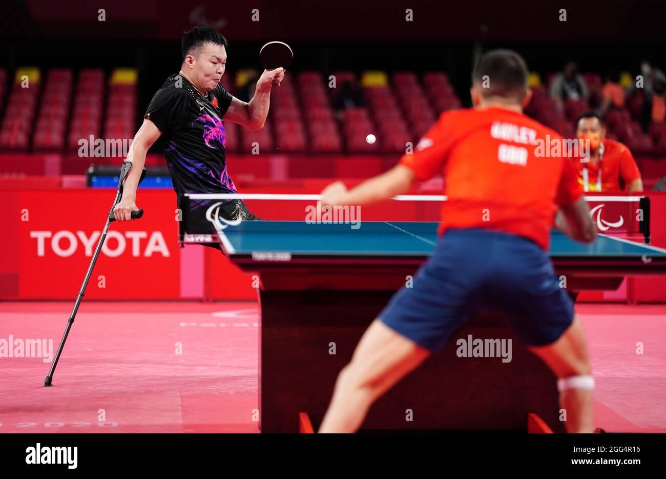 Lo Shuo Yan della Cina compete nella partita di medaglia d'oro maschile di classe sette al Tokyo Metropolitan Gymnasium durante il quinto giorno dei Giochi Paralimpici di Tokyo 2020 in Giappone. Data foto: Domenica 29 agosto 2021. Foto Stock