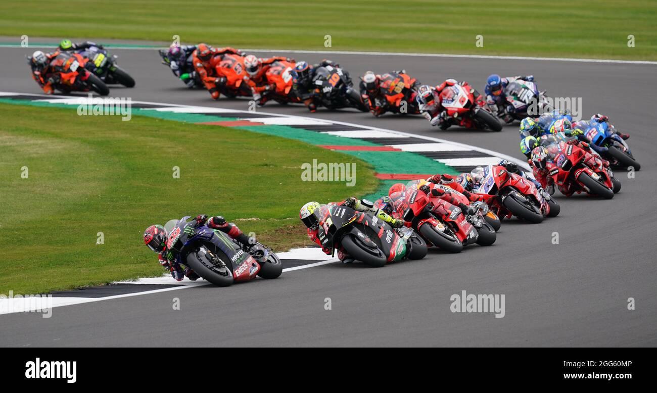 Fabio Quartararo di Monster Energy Yamaha durante la gara di MotoGP Monster Energy British Grand Prix a Silverstone, Towcester. Data foto: Domenica 29 agosto 2021. Foto Stock