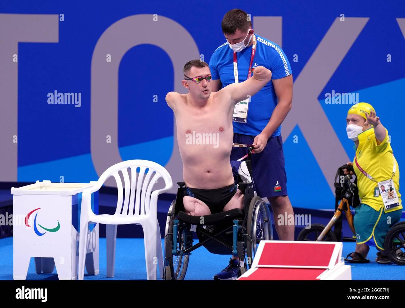 Aliaksei Talai in Bulgaria prima dell'inizio della corsa al seno da 50 m - SB2 al Tokyo Aquatics Center durante il giorno sette dei Giochi Paralimpici di Tokyo 2020 in Giappone. Data foto: Martedì 31 agosto 2021. Foto Stock