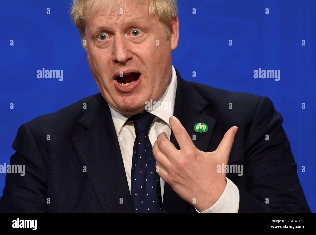 Il primo ministro Boris Johnson, durante un briefing mediatico a Downing Street, Londra, sul tanto atteso piano di riparazione del sistema di assistenza sociale rotto. Data foto: Martedì 7 settembre 2021. Foto Stock