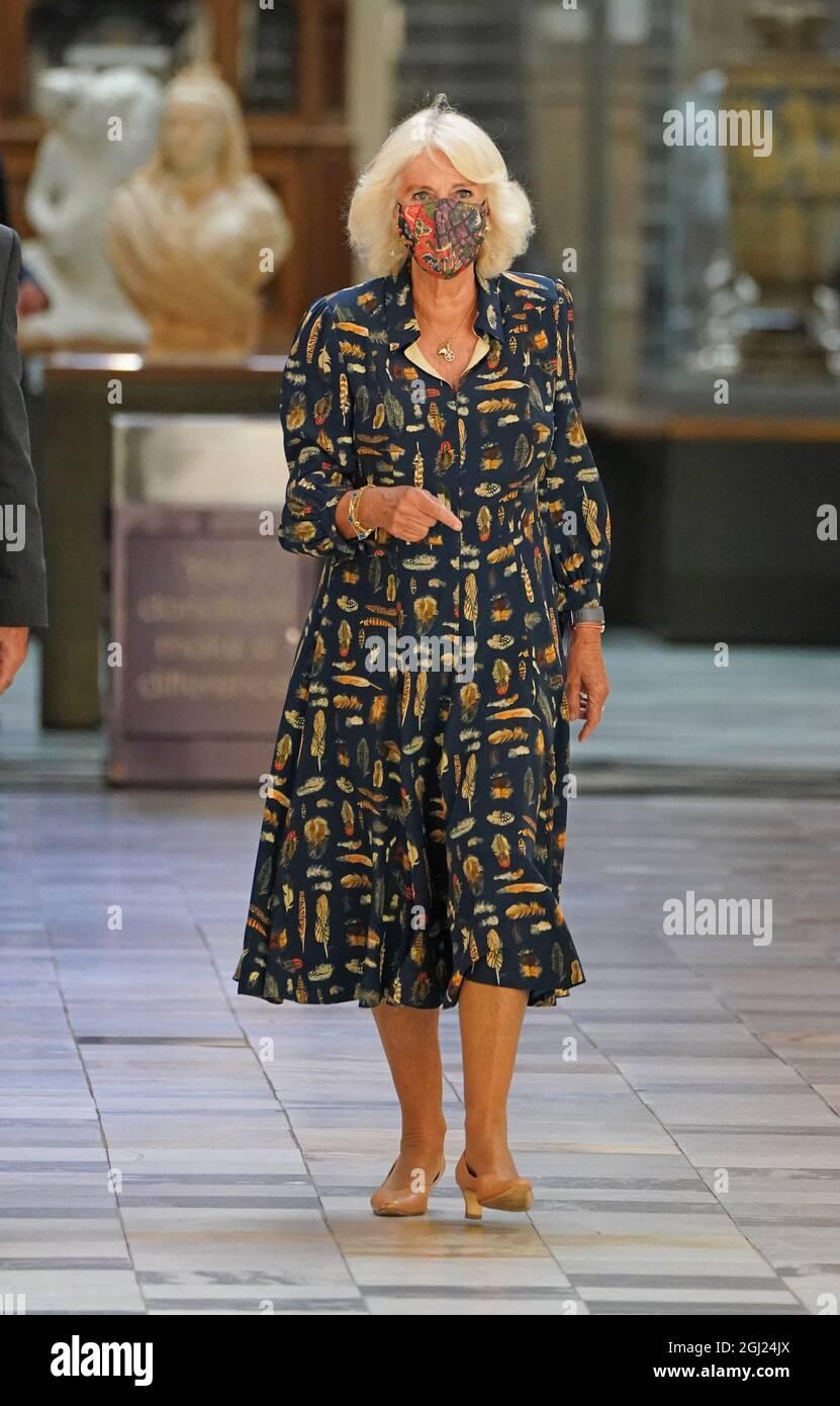 La duchessa della Cornovaglia durante una visita alla Galleria d'Arte e al Museo di Kelvingrove a Glasgow per celebrare il suo 120° anniversario. Data foto: Mercoledì 8 settembre 2021. Foto Stock