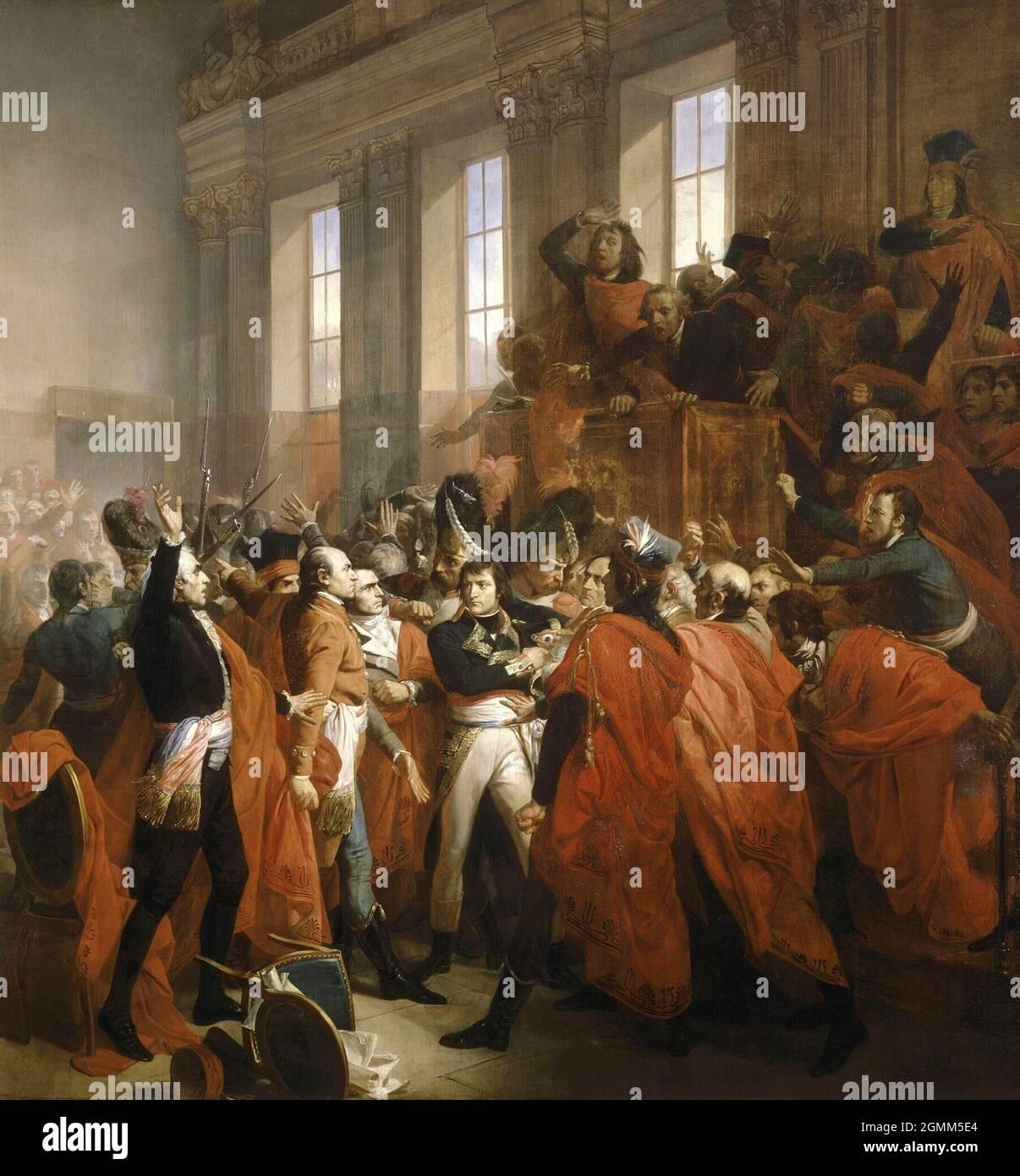 Generale Bonaparte nel Consiglio dei Cinquecento, a Saint-Cloud, 10 novembre 1799, da Francesco Bouchot Foto Stock