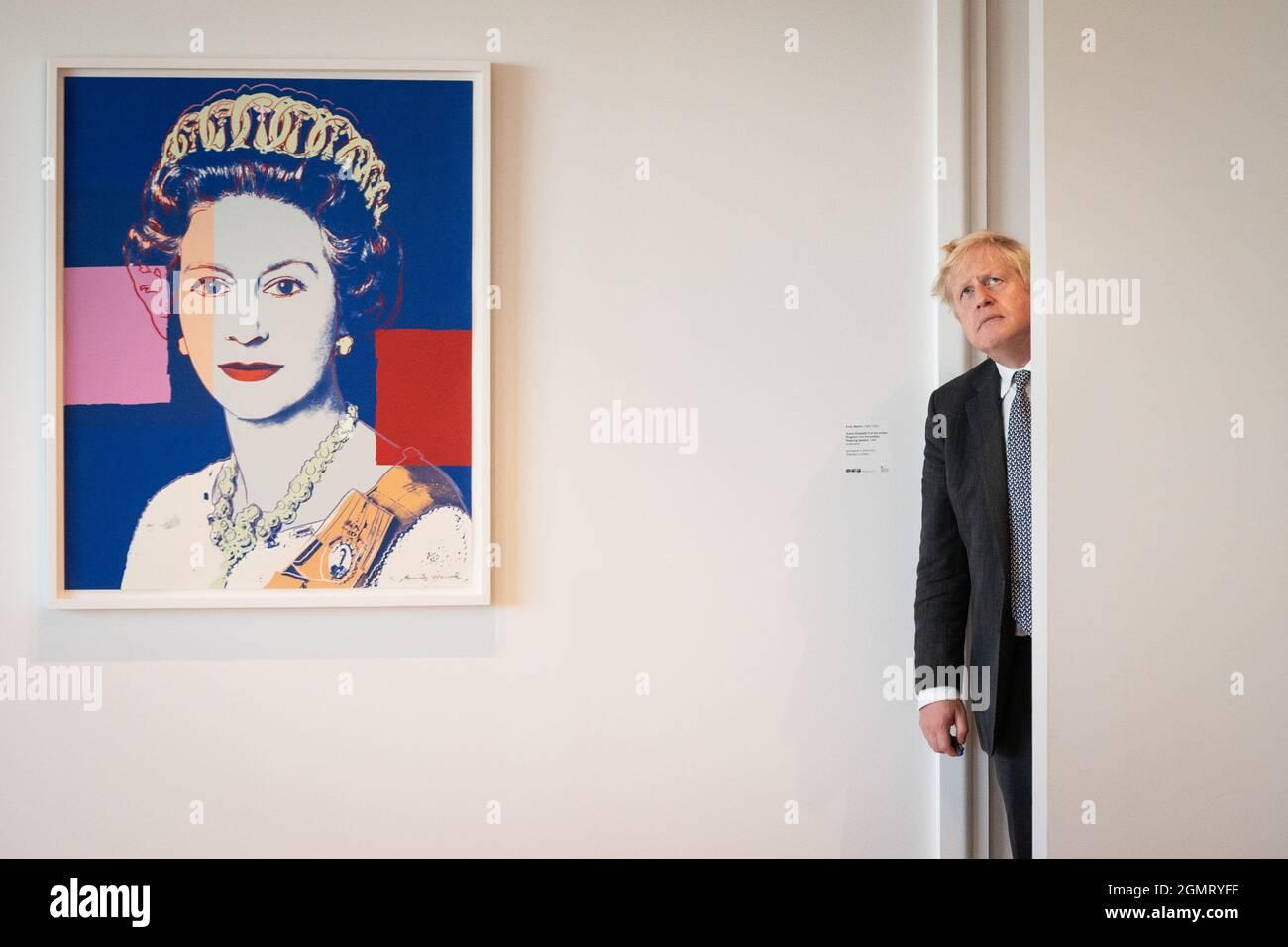 Il primo ministro Boris Johnson alla Missione britannica presso le Nazioni Unite a New York prima di incontrare il presidente esecutivo Amazon, Jeff Bezos, durante l'Assemblea generale delle Nazioni Unite. Data foto: Lunedì 20 settembre 2021. Foto Stock