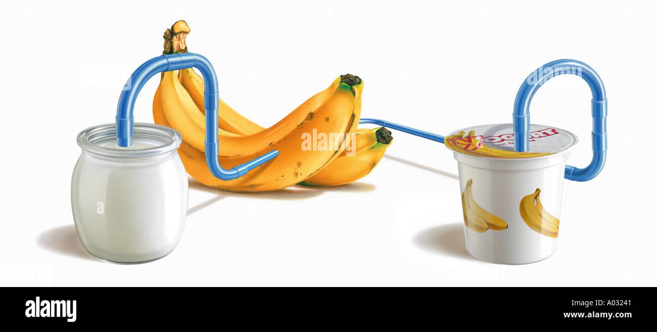Tazza di yogurt con il tubo che passa attraverso le banane Immagini Stock