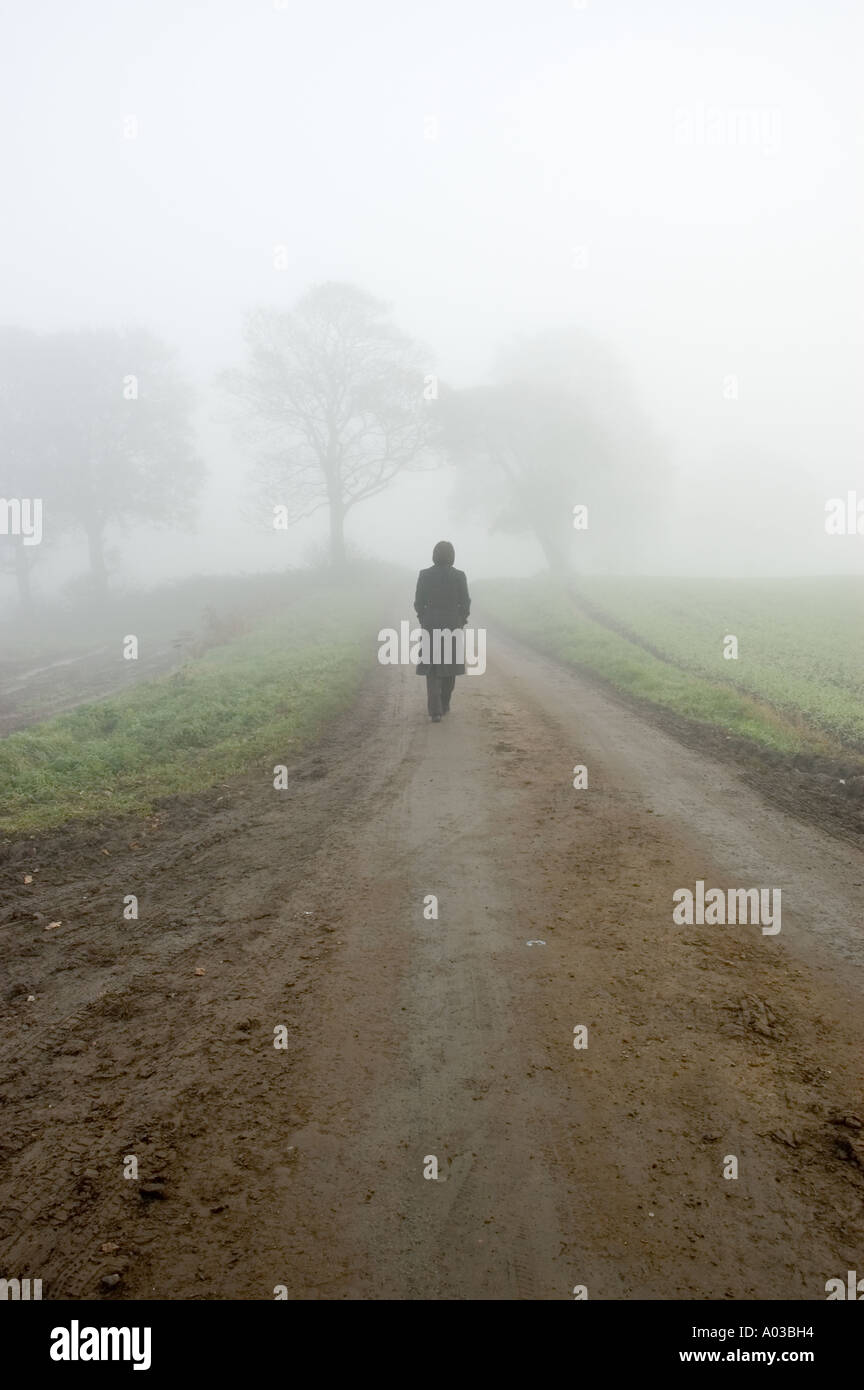 La nebbia atmosferica scena di una femmina persa lungo una solitaria strada di campagna Immagini Stock