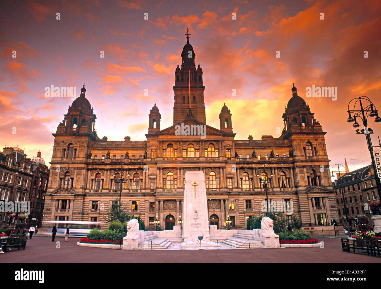 City Chambers e George Square. Glasgow, Scozia Immagini Stock