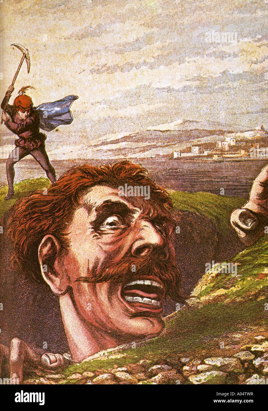 JACK con l'assassino gigante uccide il Cornish gigante in questo 1872 incisione su legno Immagini Stock