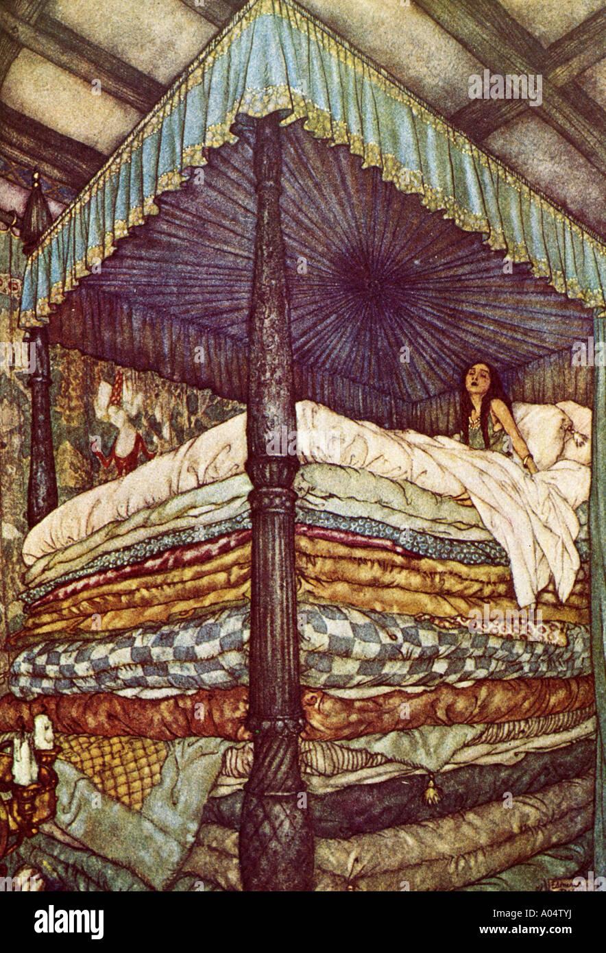 La principessa sul pisello a 1911 illustrazione del classico racconto fairy Immagini Stock