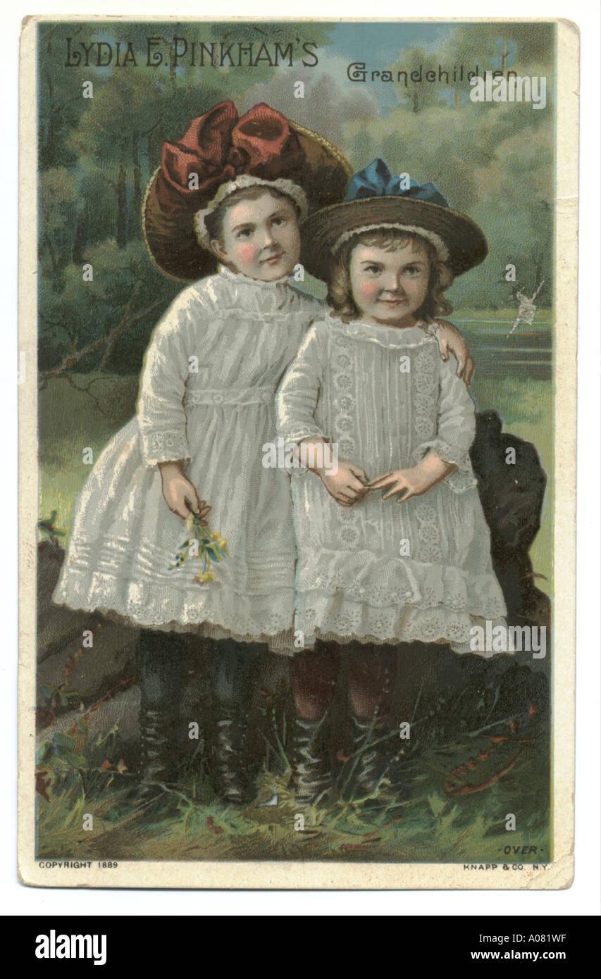 Lydia E Pinkham's grand bambini sulla scheda commerciale 1889 Immagini Stock