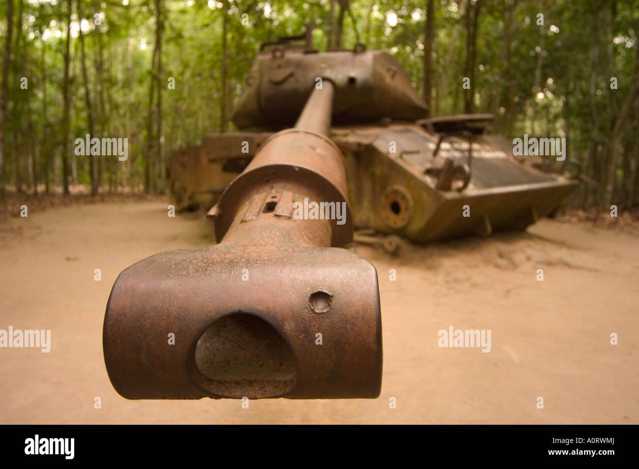 Serbatoio americana ai Tunnel di Cu Chi sud del Vietnam Asia del sud-est asiatico Immagini Stock