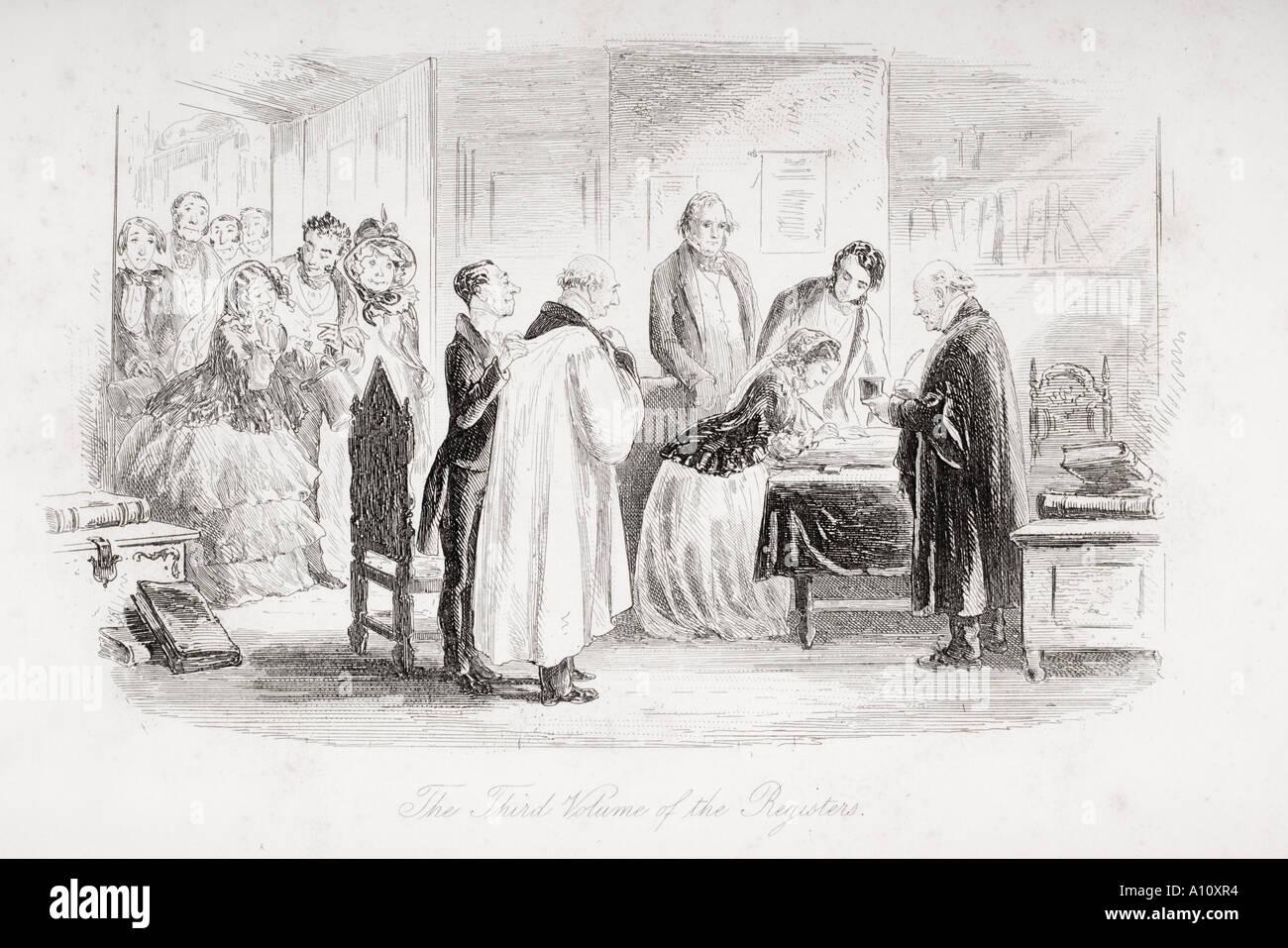 Il terzo volume dei registri illustrazione dal Charles Dickens romanzo Little Dorrit da H K Browne noto come Phiz Immagini Stock