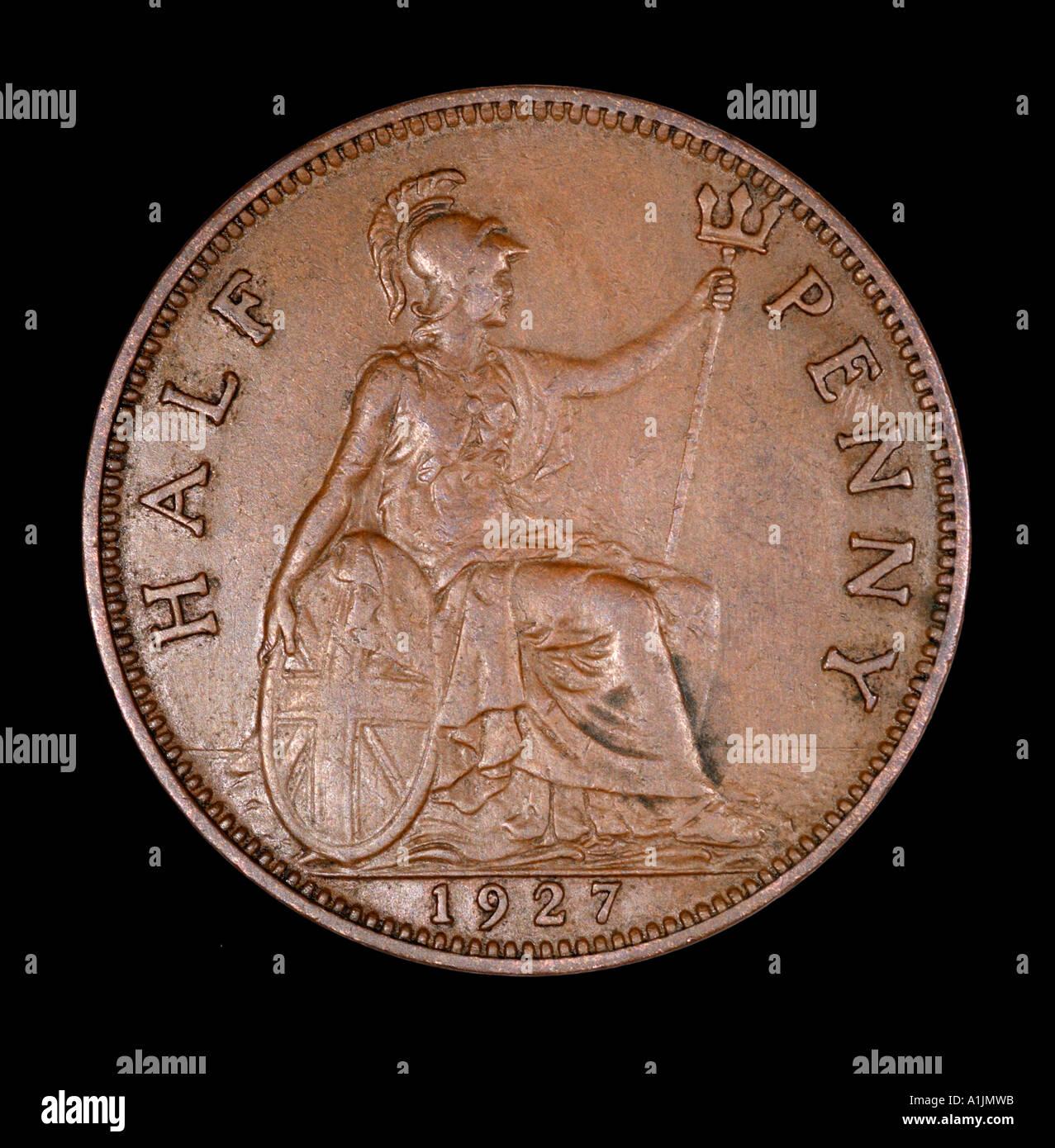 King George V 5 Reg fid def pre mezzo decimale penny vecchi pence P 1927 rame luminoso schermo Britannia trident mare casco BANDIERA Immagini Stock