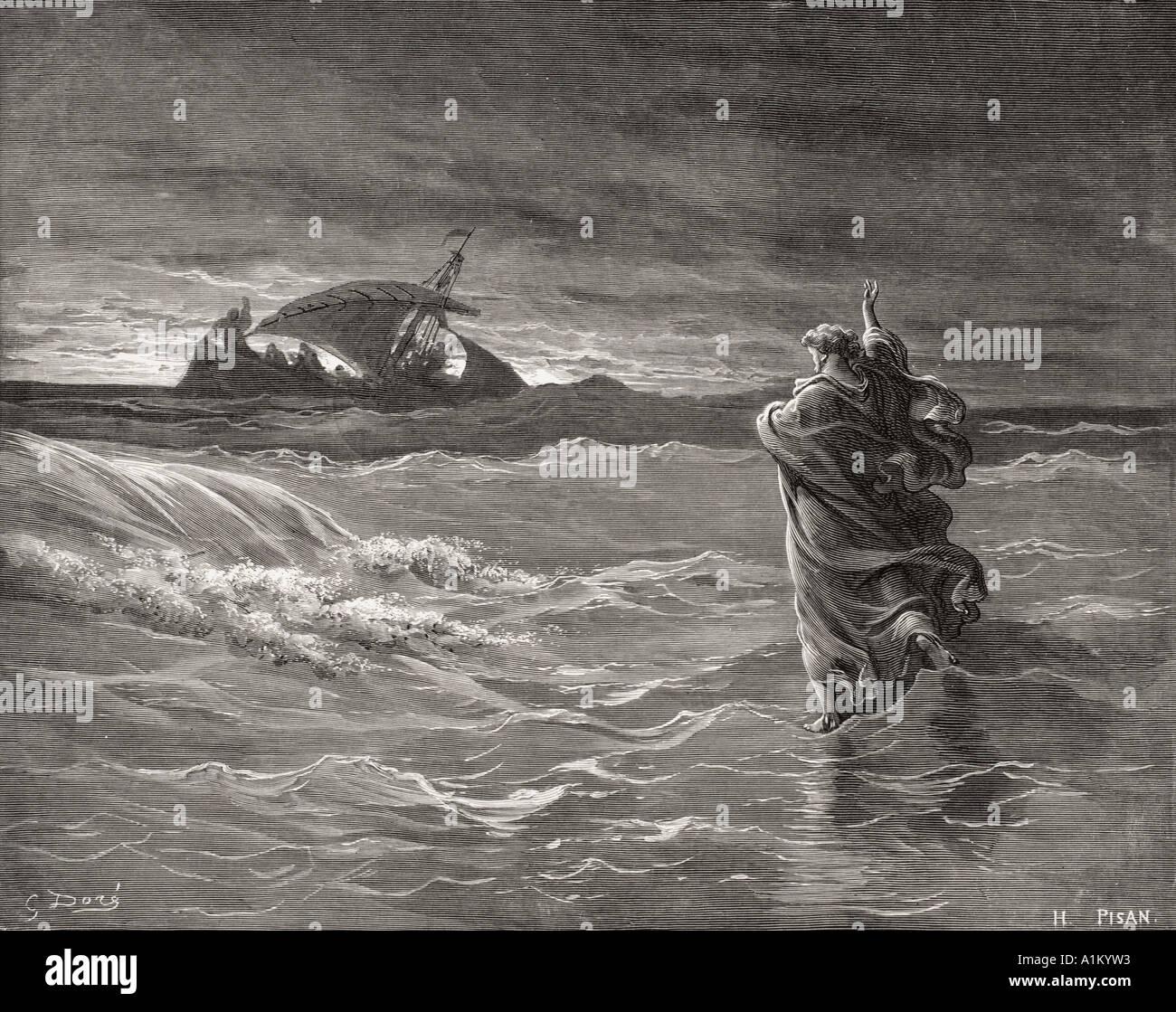 Incisione dall'l'Dore la Bibbia che illustra Giovanni vi 19 a 21. Gesù che camminava sul mare da Gustave Dore Foto Stock
