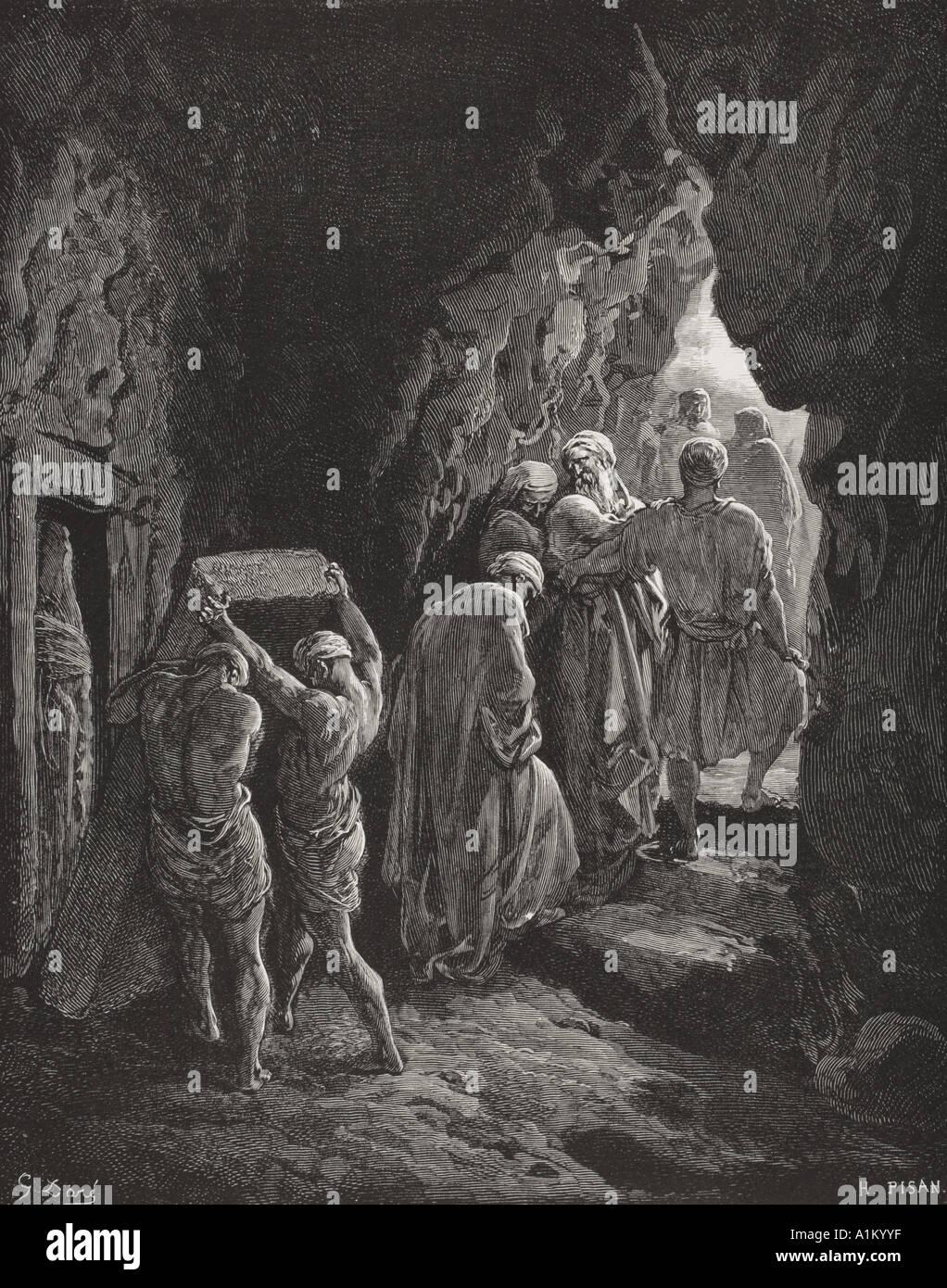 Incisione dall'Dore la Bibbia che illustra la genesi xxiii 19 e 20. La sepoltura di Sarah da Gustave Dore Foto Stock