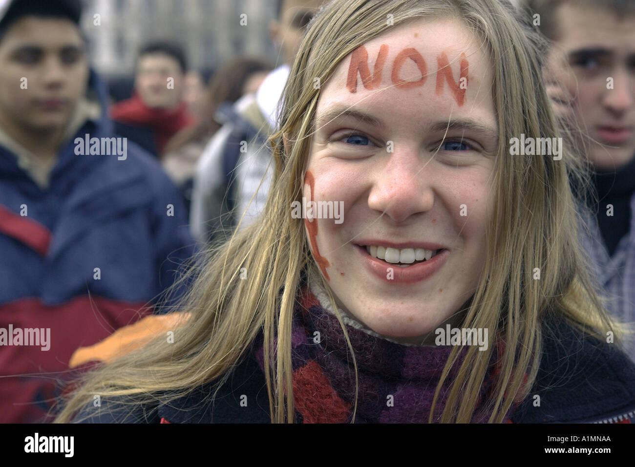 Uno studente protester a Lione, Francia Immagini Stock