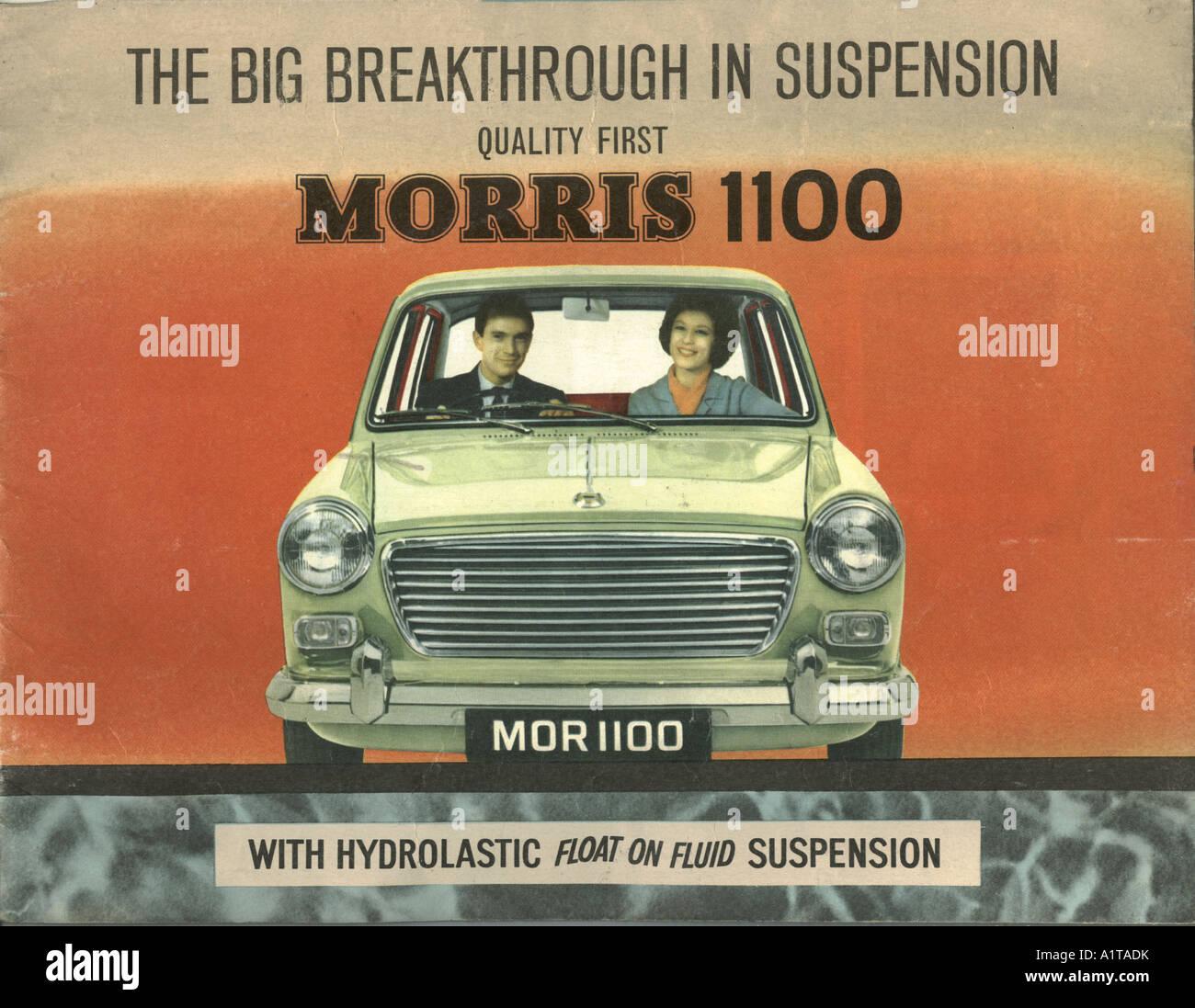 Opuscolo pubblicitario per Morris 1100 1963 Immagini Stock