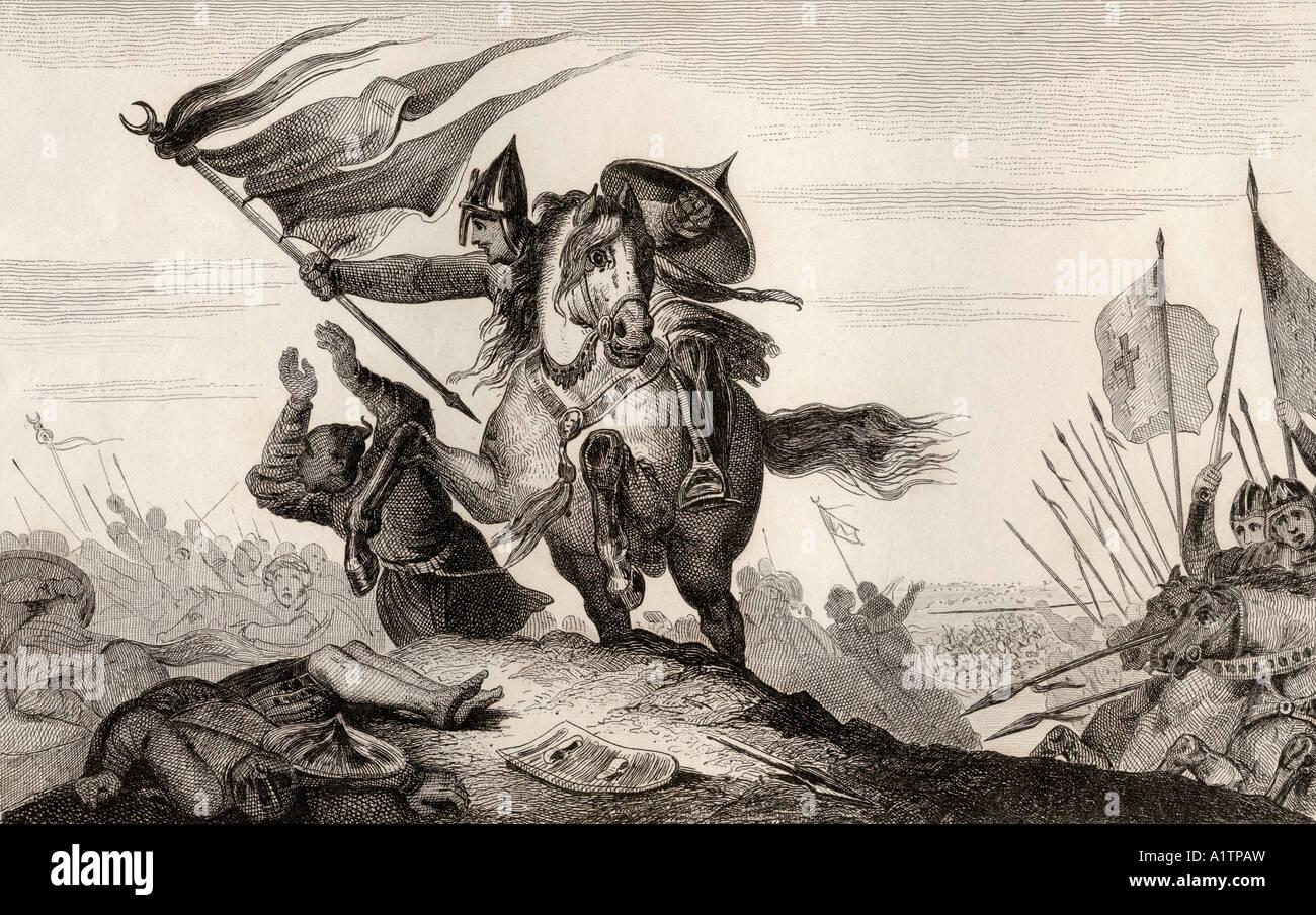 Viii secolo cavaliere francese in battaglia Immagini Stock