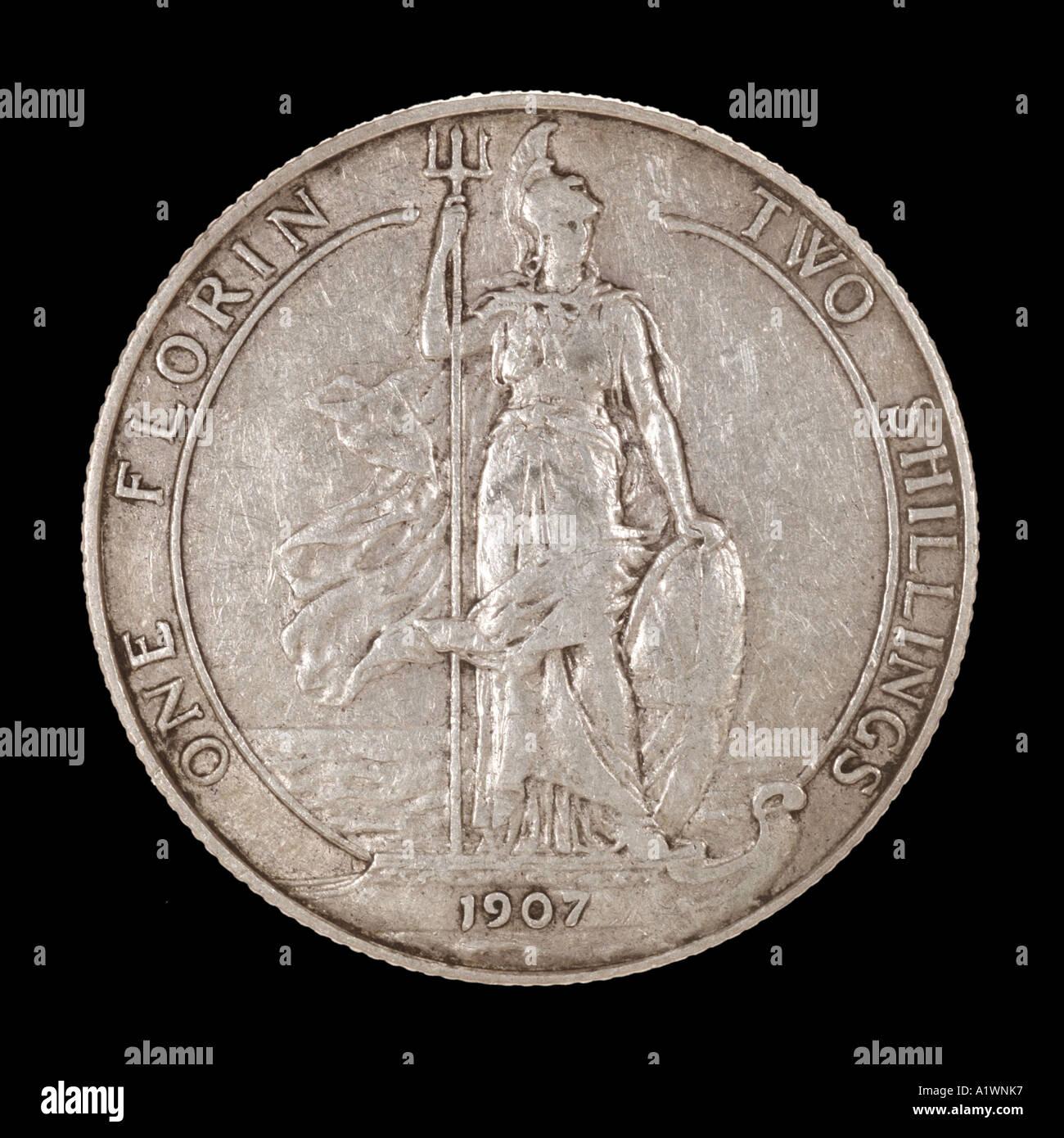 La regina Victoria Reg fid def pre decimale scellino 2 Florin 24 venti quattro vecchi pence P 1899 argento brillante Britannia omn rex dei Immagini Stock