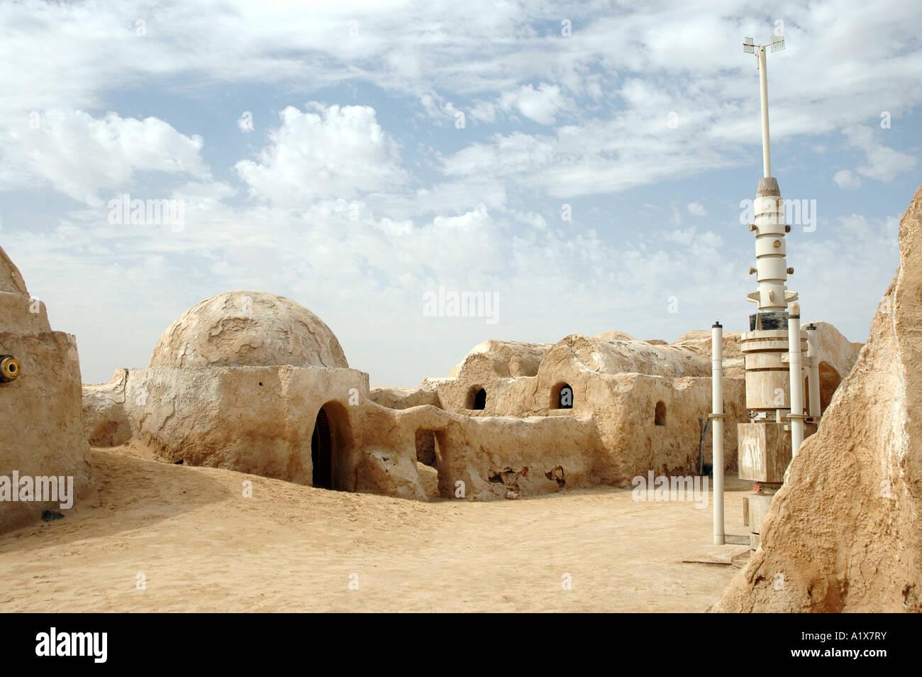 Resti di George Lucas Star Wars movie set sul deserto del Sahara in Tunisia Immagini Stock