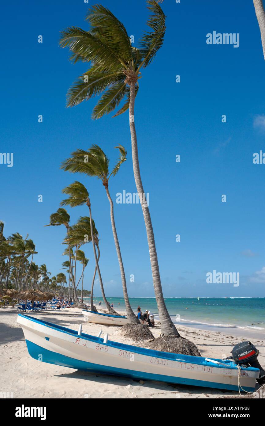 Bavaro Beach all estremità orientale vicino a Punta Cana, Bavaro e Punta Cana Repubblica Dominicana Immagini Stock
