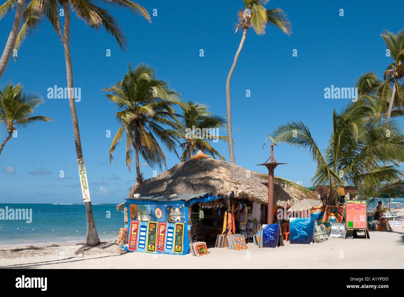Beach Shop vicino Occidental Allegro Hotel, Bavaro Beach in Punta Cana, Repubblica Dominicana, dei Caraibi Immagini Stock