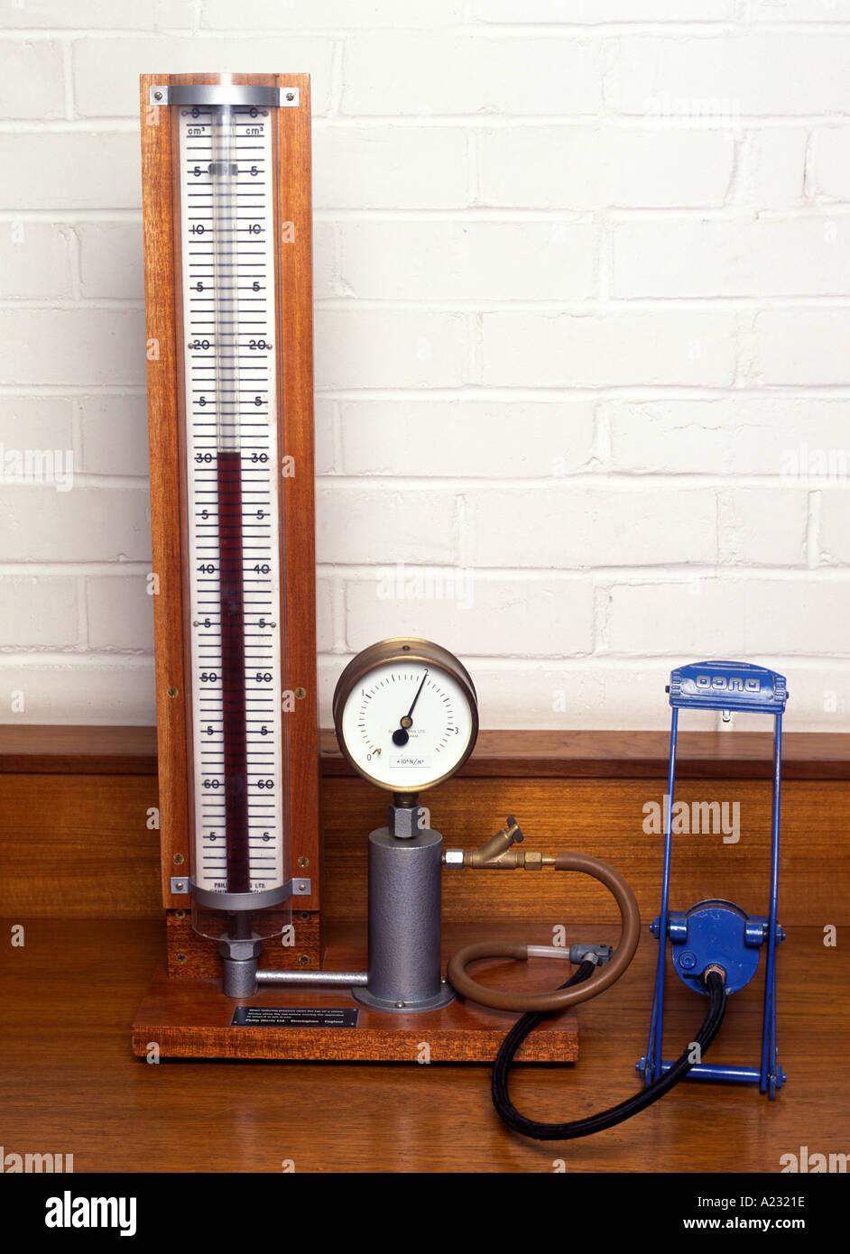 Legge di Boyle apparecchiatura per indagare il rapporto tra la pressione e il volume di un gas Immagini Stock