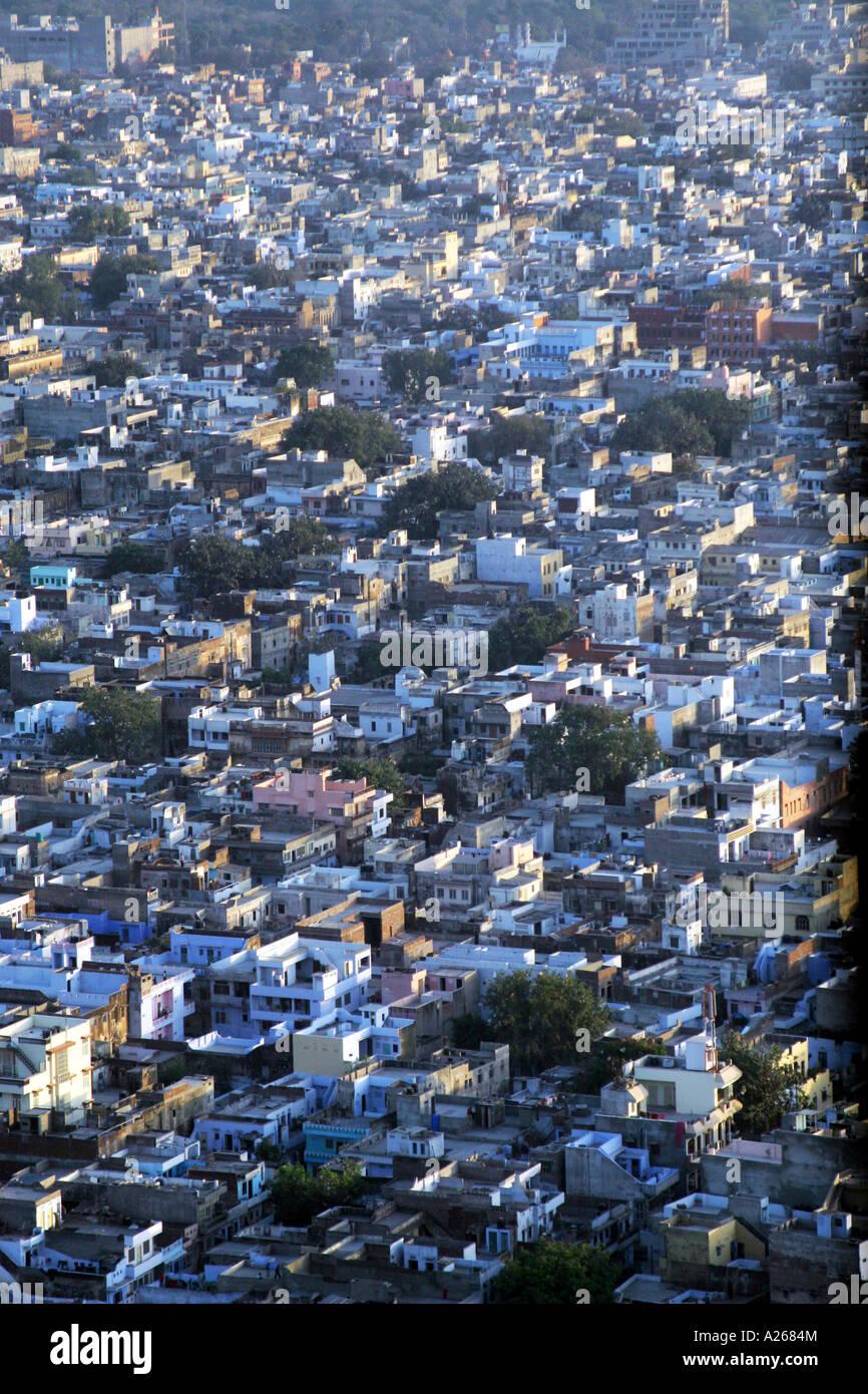Jodhpur India, conosciuta come la città blu visto dal Forte Mehrangarh Foto Stock