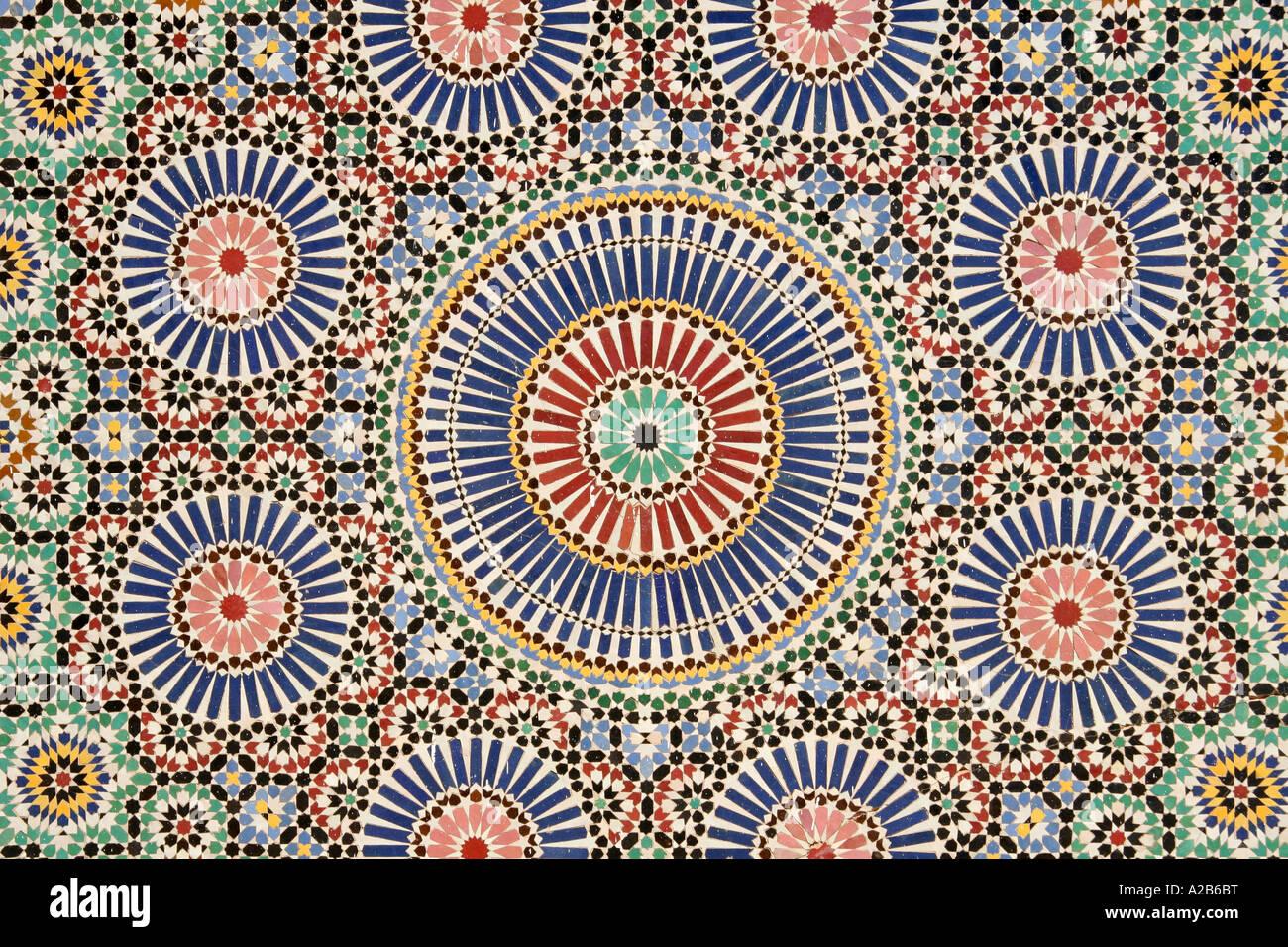 In stile arabo design di piastrelle a mosaico che mostra i dettagli