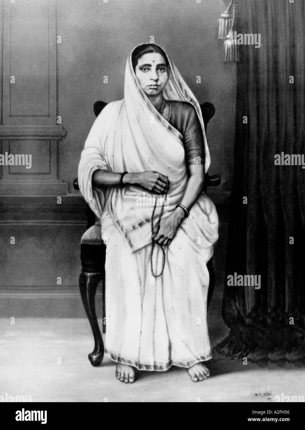 Il Mahatma Gandhi madre Putlibai Immagini Stock