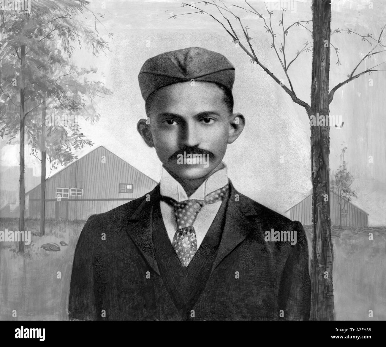 Il Mahatma Gandhi in Sud Africa 1895 inizio foto di tie coat hat Immagini Stock