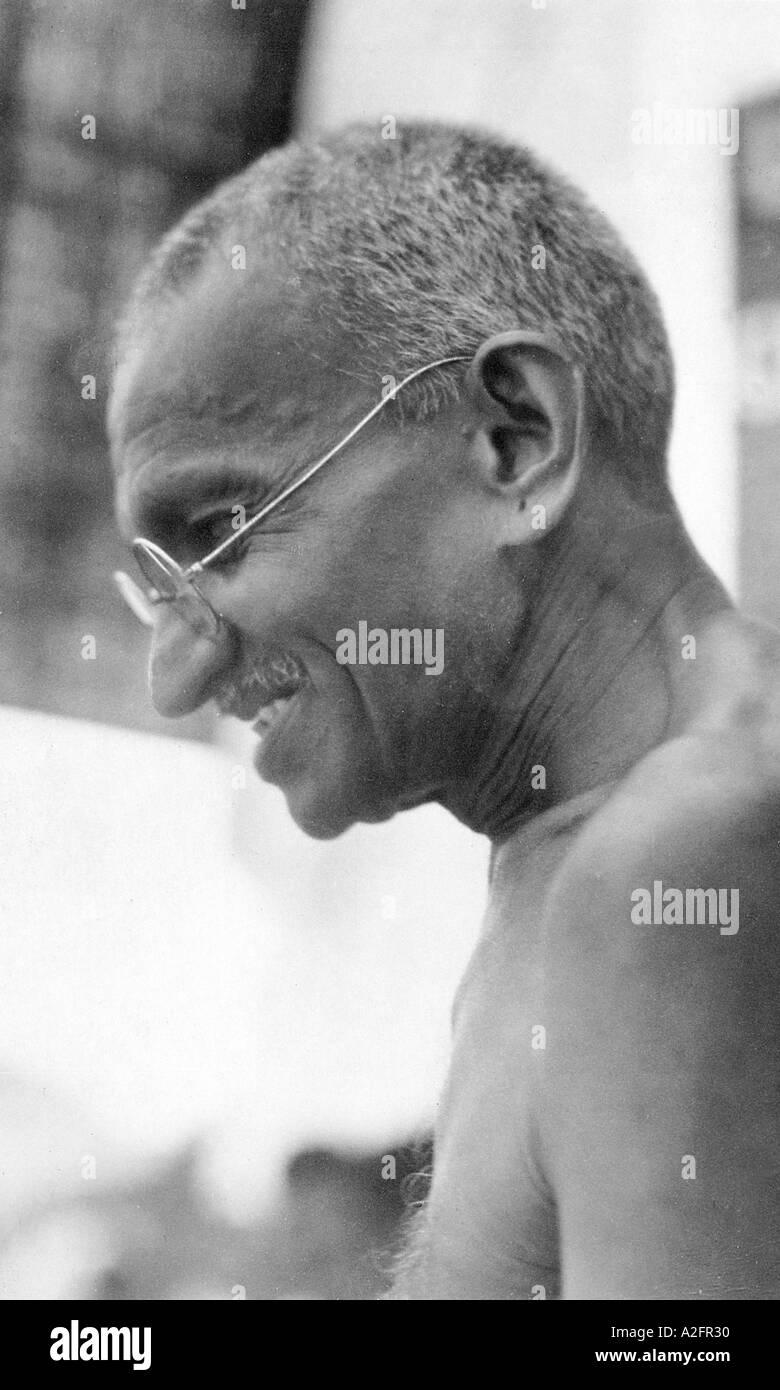 Il Mahatma Gandhi ritratto profilo laterale Marzo 1930 Immagini Stock