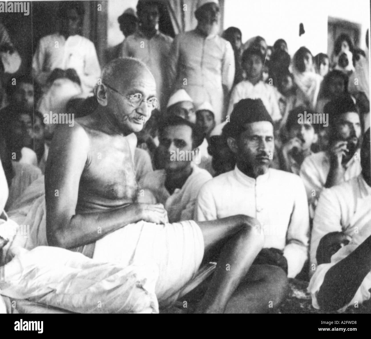 Il Mahatma Gandhi a Jahanabad Bihar India 28 marzo 1947 Immagini Stock