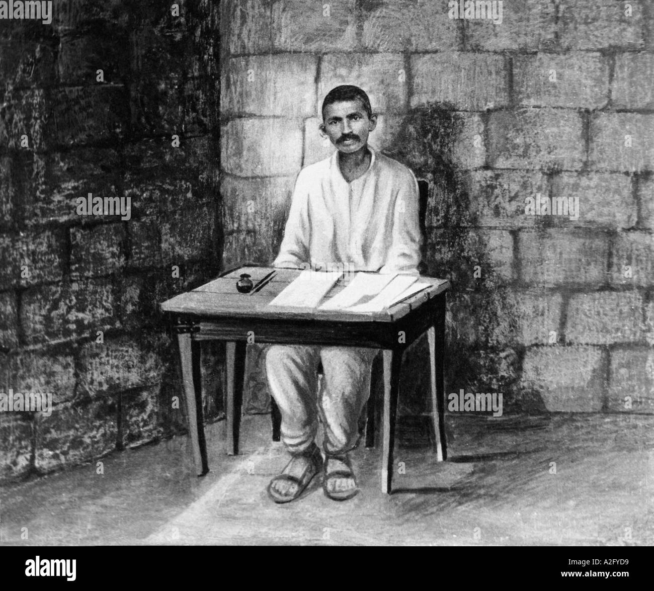 Disegno del Mahatma Gandhi in carcere in Sud Africa 1908 Immagini Stock
