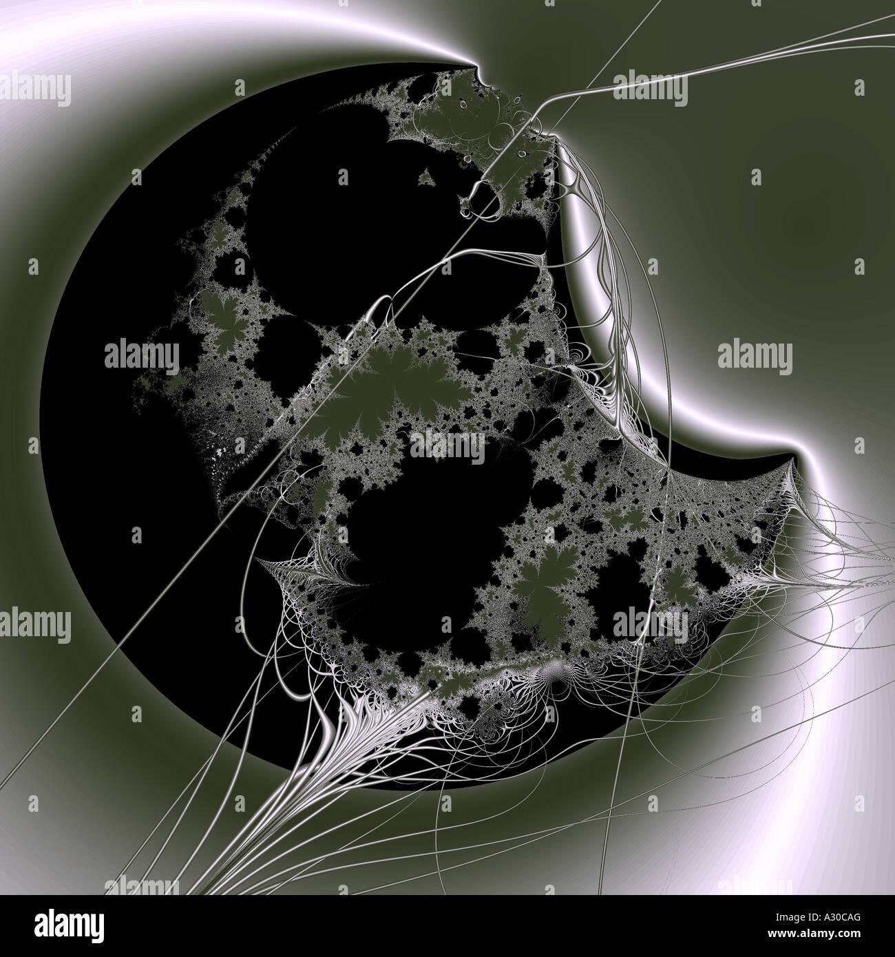 Computer generato frattale puzzle riflessione c attraverso la teoria surreale scienza straordinaria silhouette a Immagini Stock