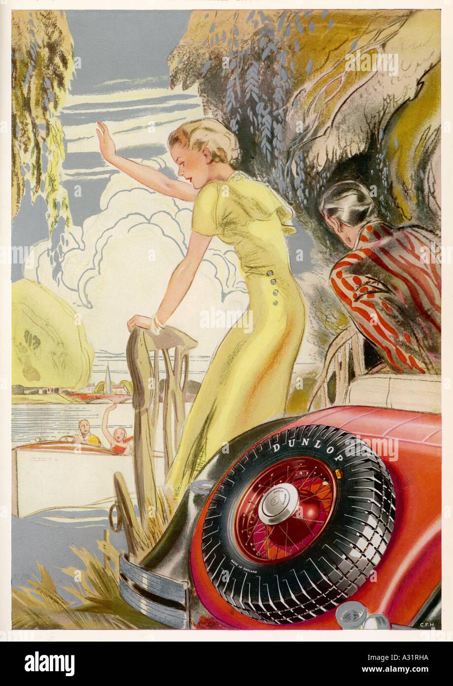 Annuncio pneumatici Dunlop 1934 Immagini Stock