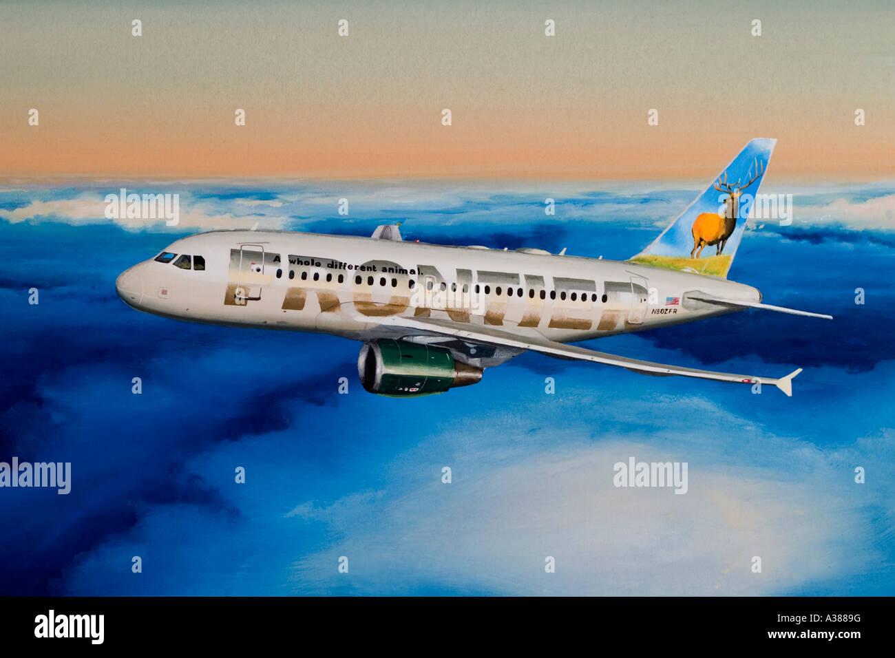 Gouache pittura di Airbus A318 Frontier Airlines Immagini Stock