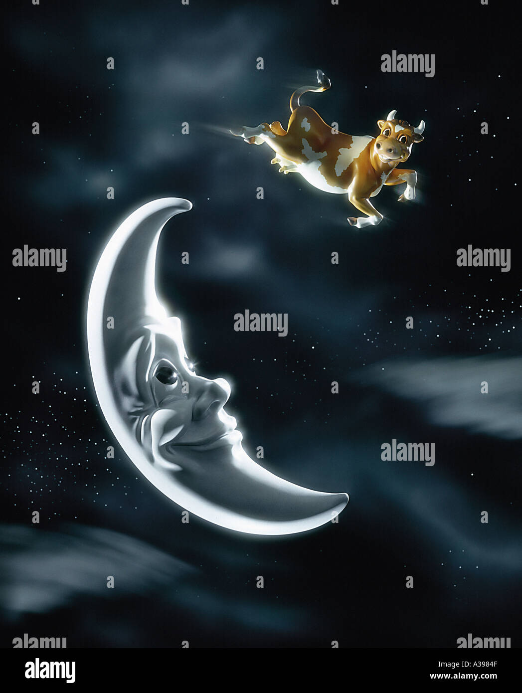 Mucca salta sopra la luna Immagini Stock