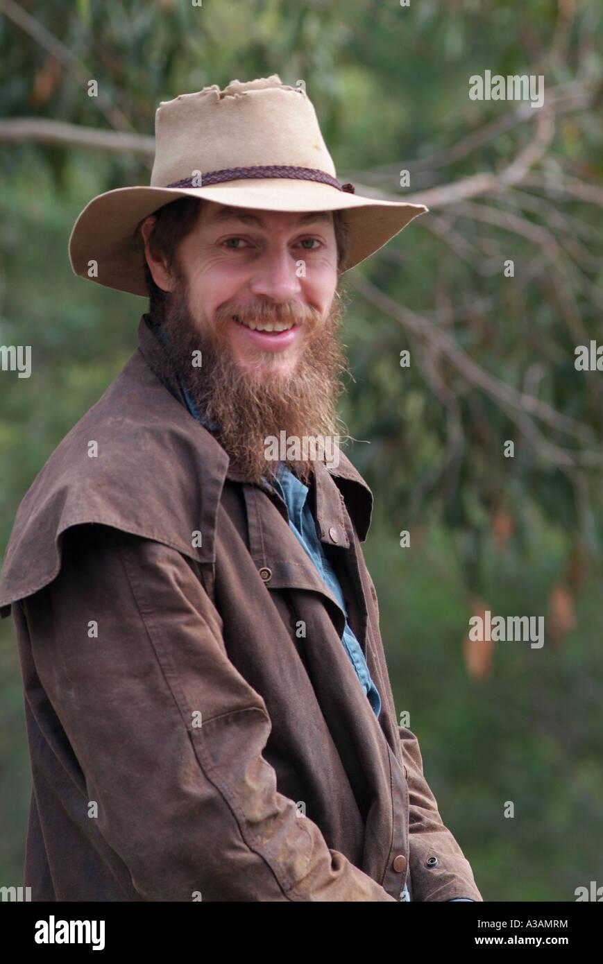 Australian cattleman montagne contadino con Episteme hat e osso Driza rivestire Immagini Stock