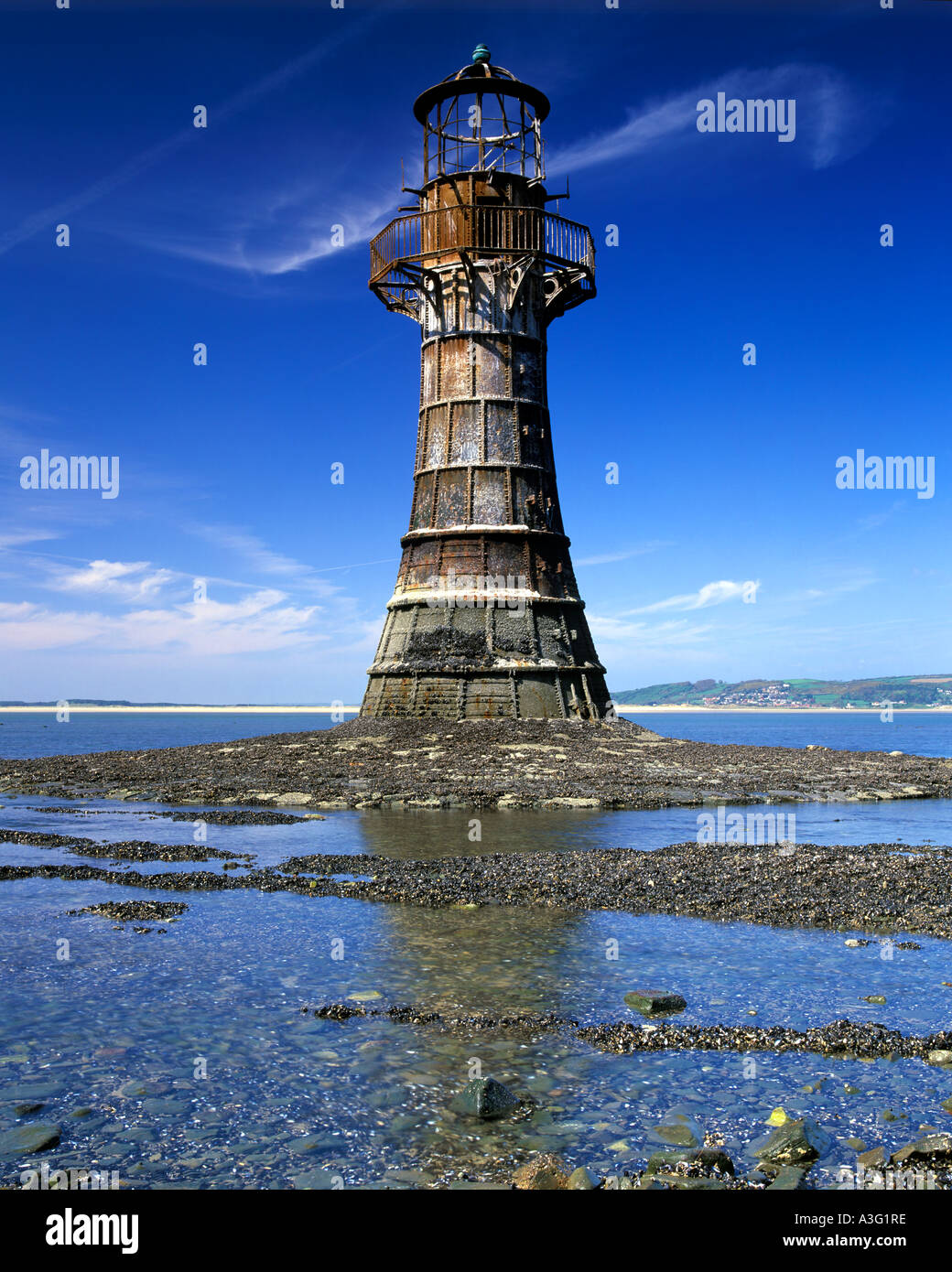 Whiteford point lighthouse, Penisola di Gower, South Wales, Regno Unito Immagini Stock