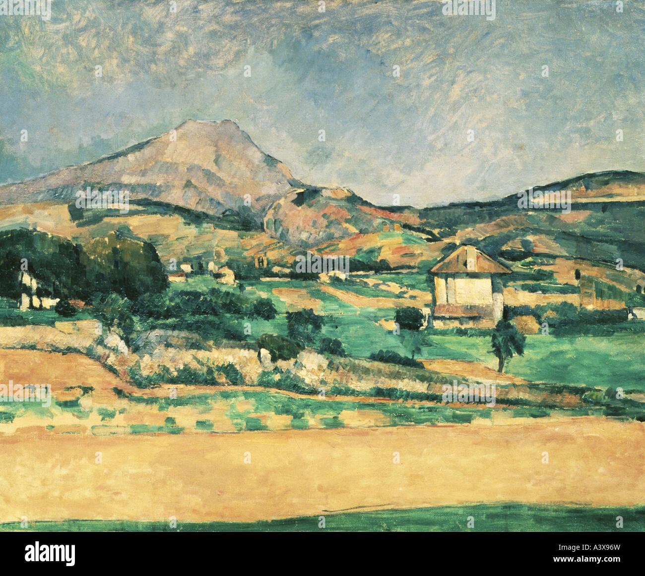 """""""Belle Arti, Cezanne, Paolo (1839 - 1906), pittura, 'La Montagne Sainte-Victoire', (""""vista sul Immagini Stock"""