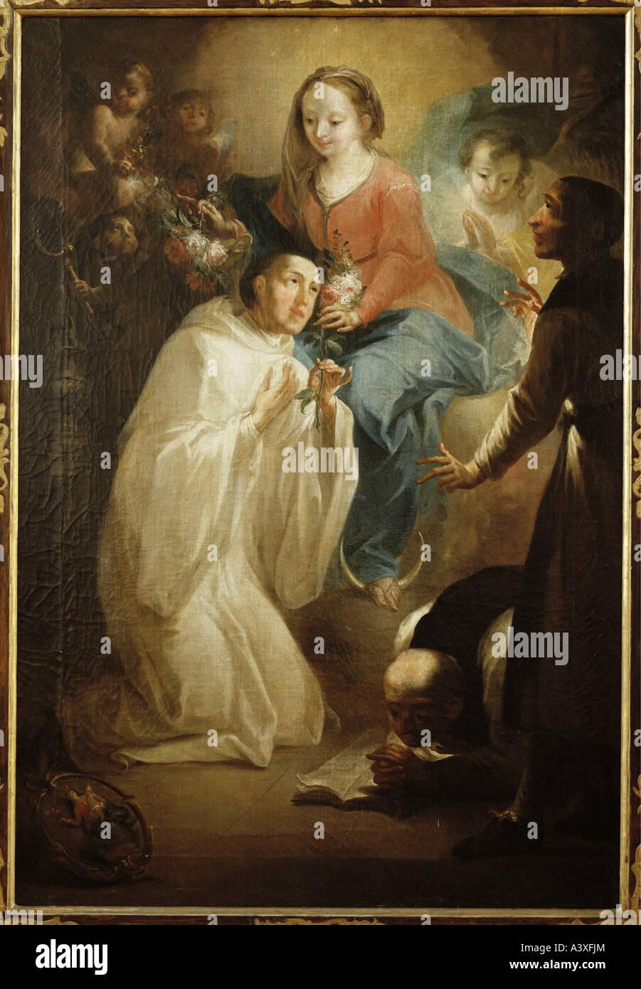 """""""Belle Arti, Brugger, Andreas, (1737 - 1812), pittura, """"Bernard e i vinti eretico Abelardo prima che la regina del Foto Stock"""