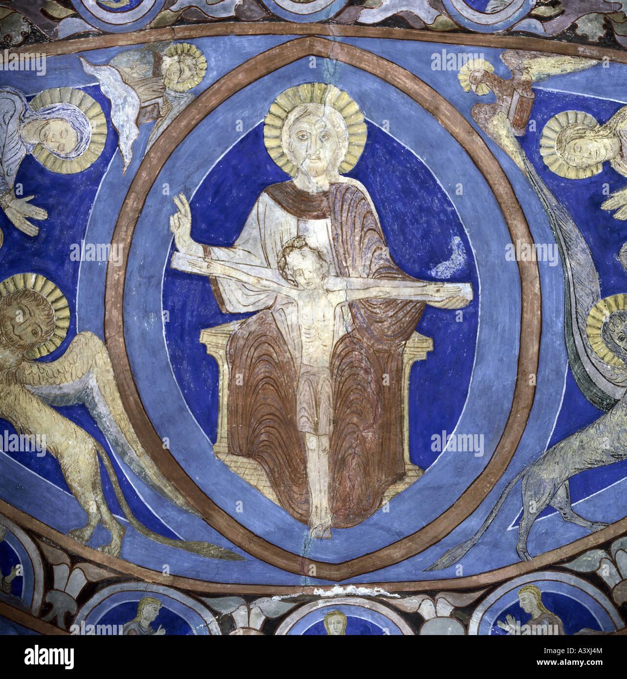 Belle arti, l'arte religiosa, Santa Trinità, pittura, affresco del XIII secolo, coro vault, chiesa, Bjäresjö, Immagini Stock