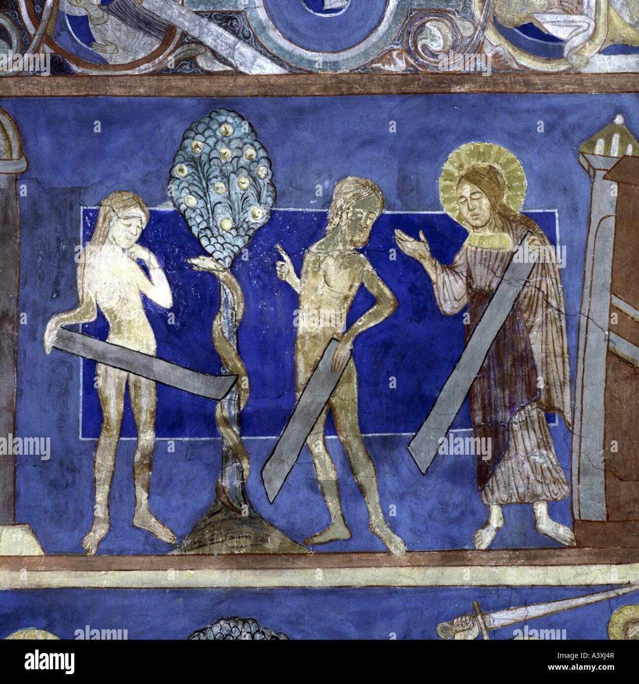 Belle arti, l'arte religiosa, Adamo ed Eva, caduta di uomini, pittura, affresco del XIII secolo, Chiesa di Bjäresjö, Ystad, Europa, Svezia, Foto Stock