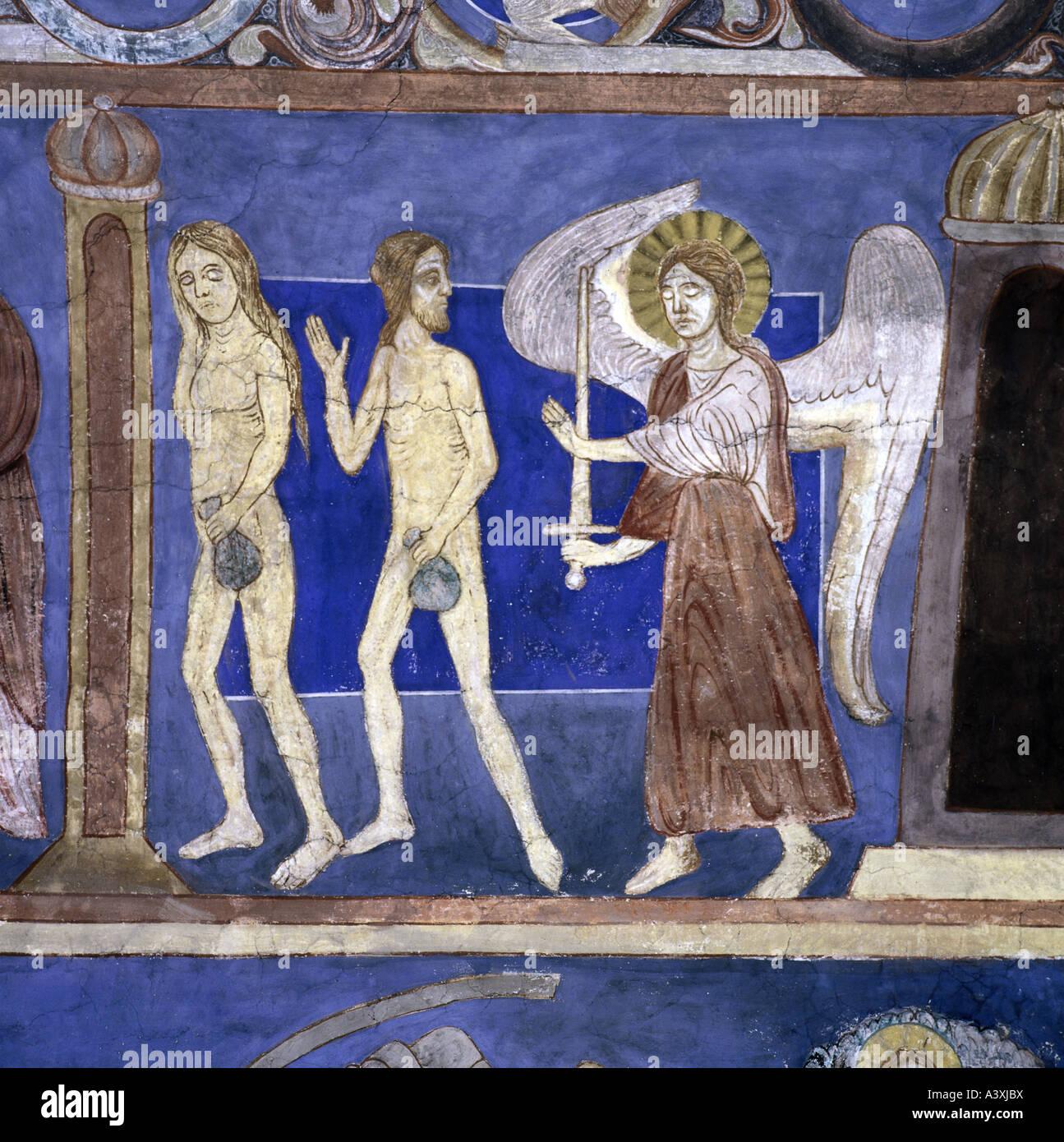 Belle arti, l'arte religiosa, Adamo ed Eva cacciata dal paradiso, pittura, affresco del XIII secolo, Chiesa Immagini Stock