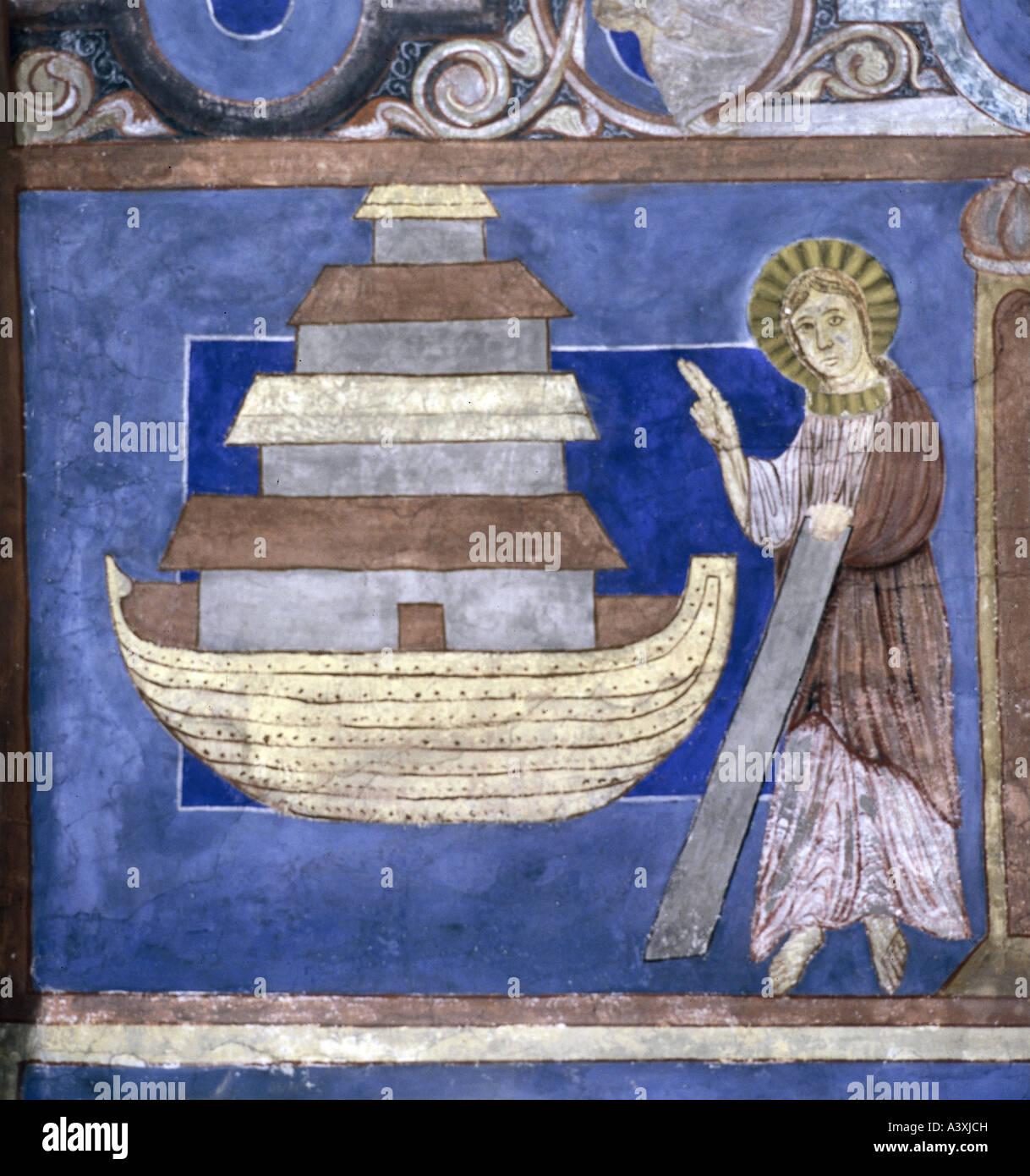 Belle arti, l'arte religiosa, scene bibliche, Noah 's arca, pittura, affresco del XIII secolo, Chiesa di Immagini Stock