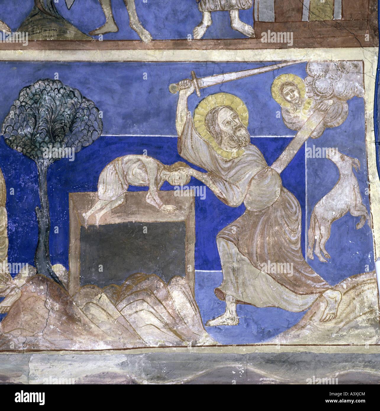 Belle arti, l'arte religiosa, scene bibliche, il sacrificio di Isacco, pittura, affresco del XIII secolo, Chiesa Immagini Stock
