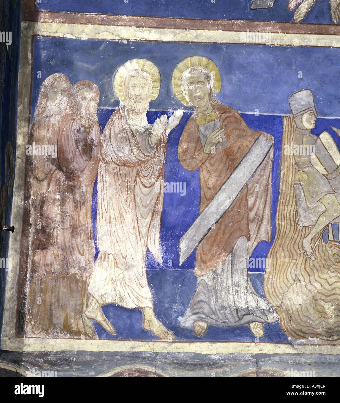 Belle arti, l'arte religiosa, Mosè, Mosè e Aronne, pittura, affresco del XIII secolo, Chiesa di Bjäresjö, Immagini Stock